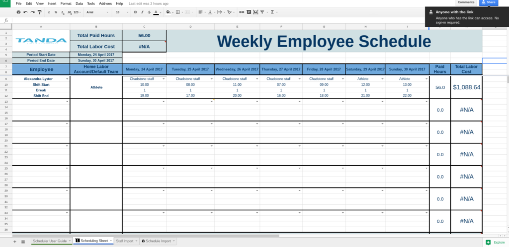 Google Sheets Schedule Template Printable Schedule Template - Google sheets daily schedule template