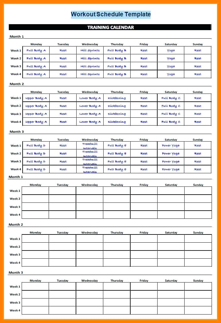 gym schedule template printable schedule template