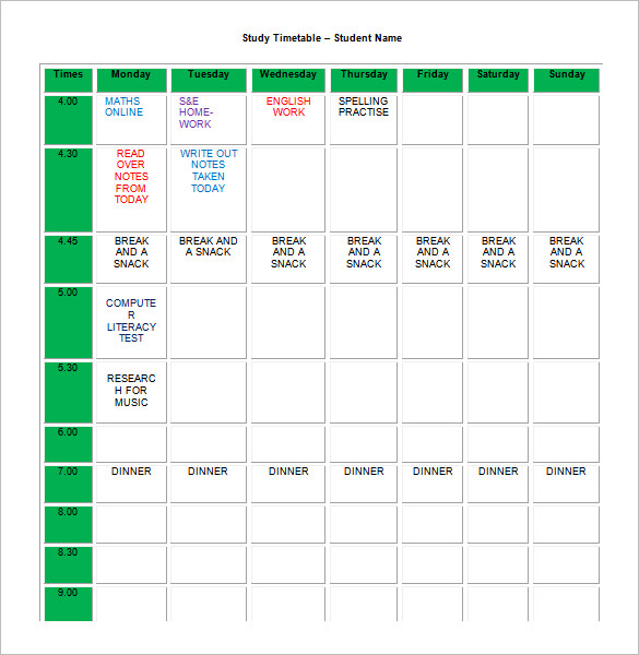 Homework Timetable Template