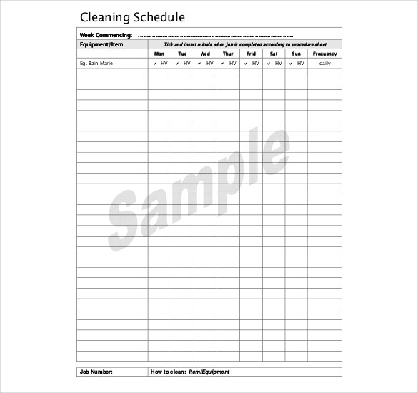 Kitchen Cleaning Schedule Template 20 Free Word, PDF Documents