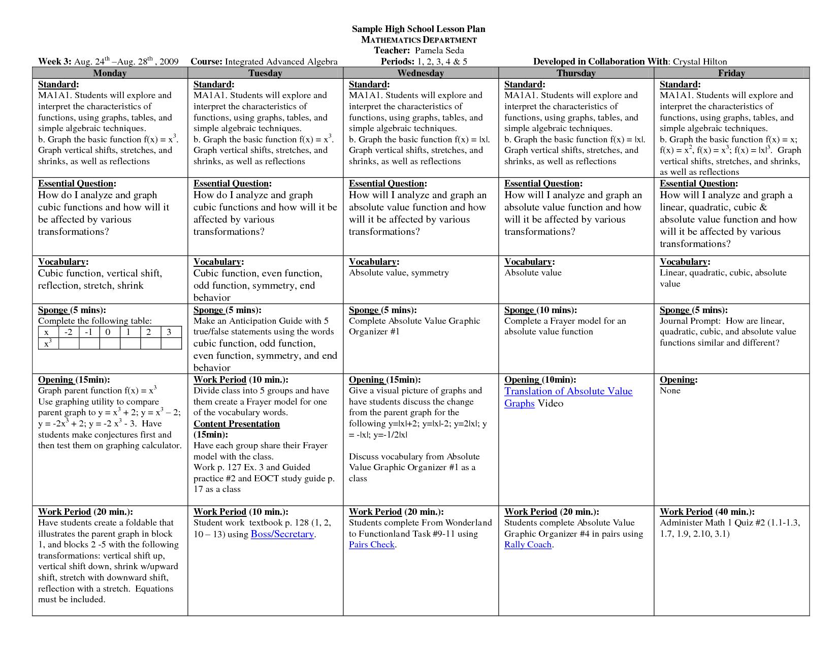 High School English Template # 1   Teacherplanet.com
