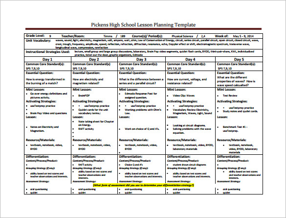 Math Lesson Plan Template High Schoolsample Hs Math Weekly Lesson