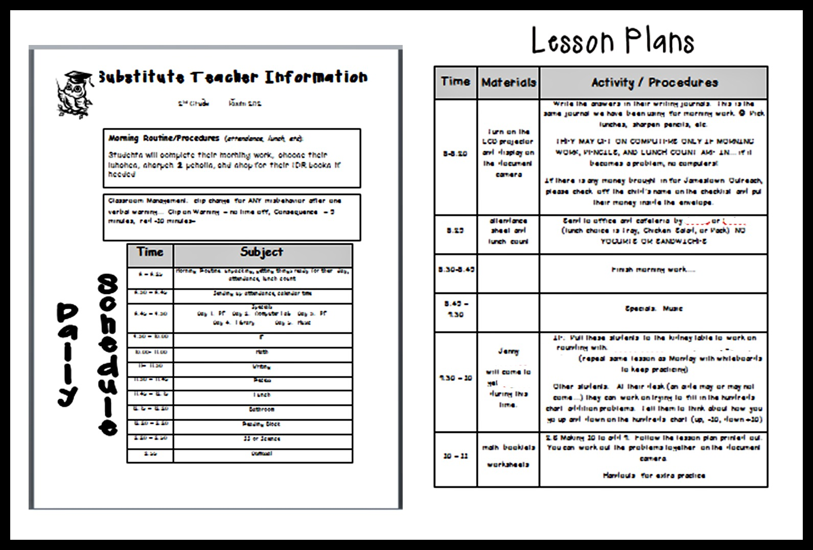 lesson plan template for substitute teacher  u2013 printable schedule template