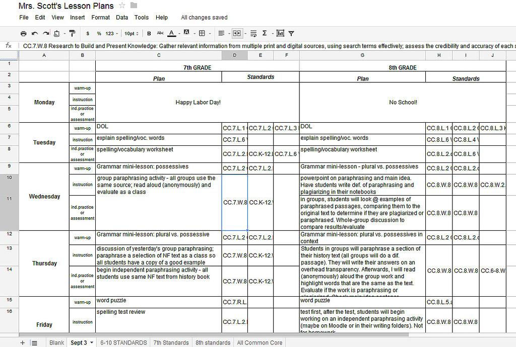 Lesson Plan Template Google Docs