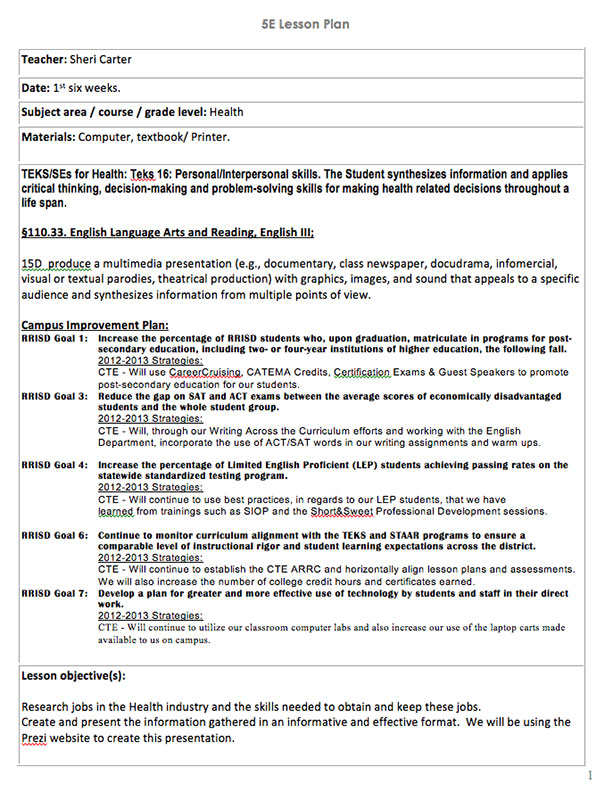 Lesson Plan Template High School