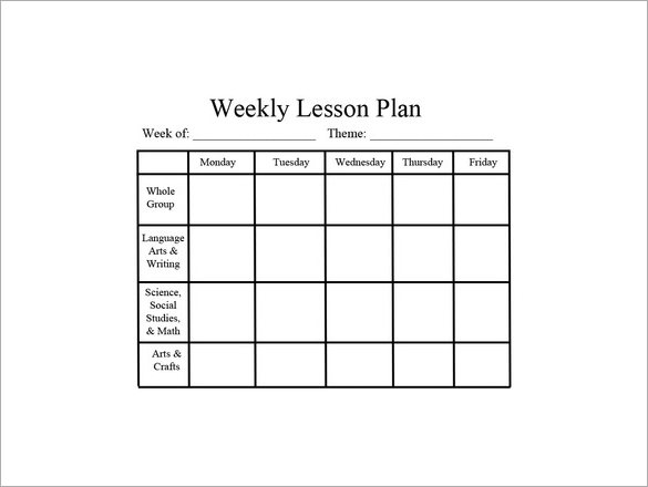 Lesson Plan Template Pdf Weekly
