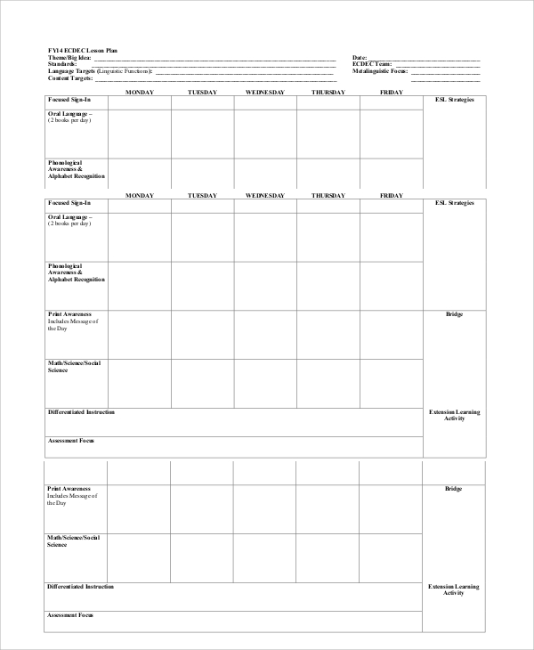 Lesson Plan Template Printable Free