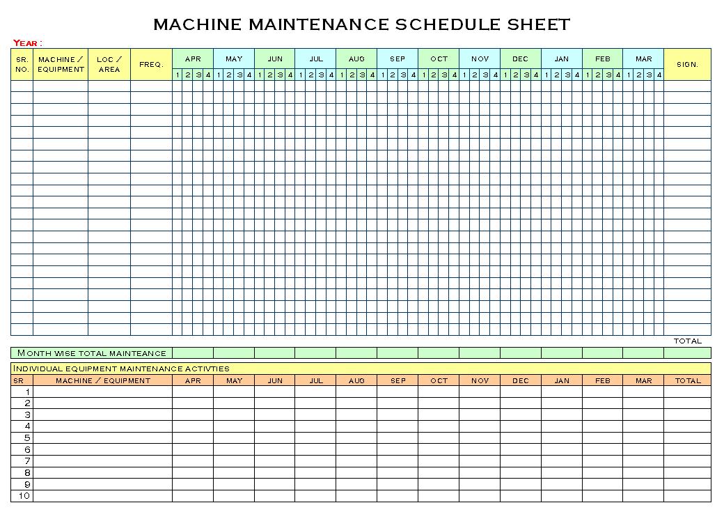 Clever Machine Maintenance Schedule Sheet Template : V m d.com