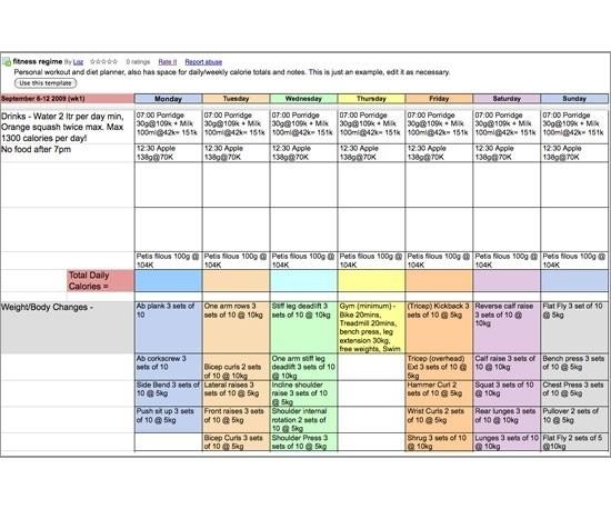 Meal Plan Template Google Docs | Best Business Template