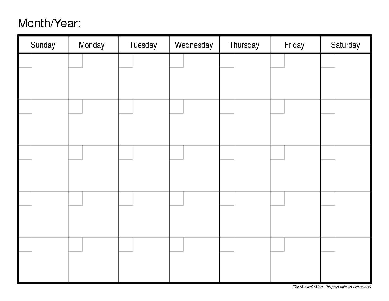 Monthly Schedule Calendar Template