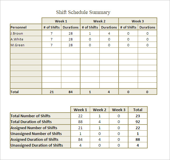 Monthly Shift Schedule Template