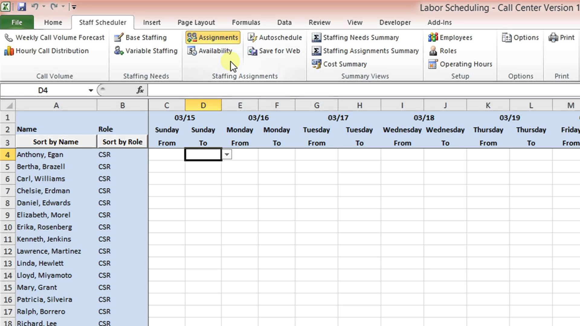 Labor Scheduling Template for Excel Call Center Version Overview