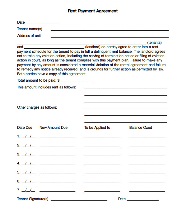 payment plan agreement template payment agreement form template