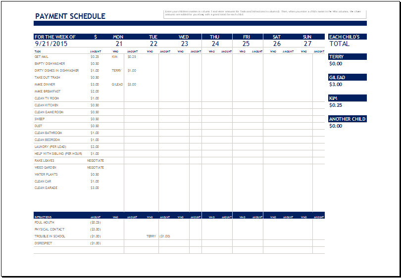 Chore Payment Schedule Template for MS Excel | Excel Templates