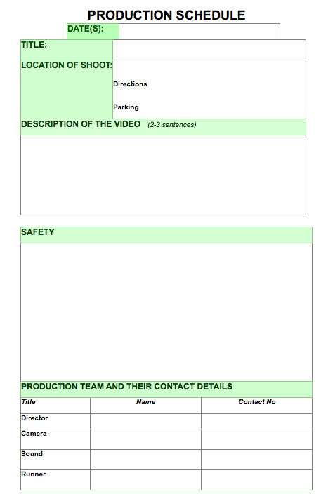 Production schedule template blank