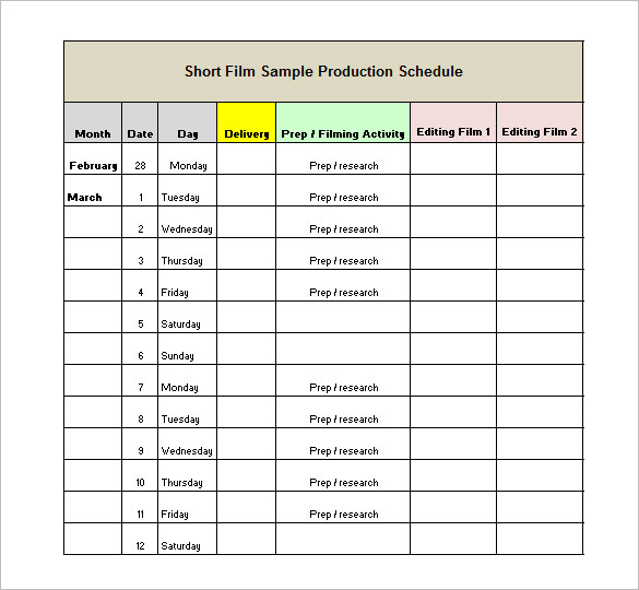 Film Production Schedule Template Shooting