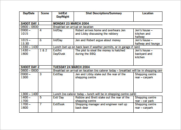 Film Shooting Schedule Template 14 Free Word Excel Pdf Format Film