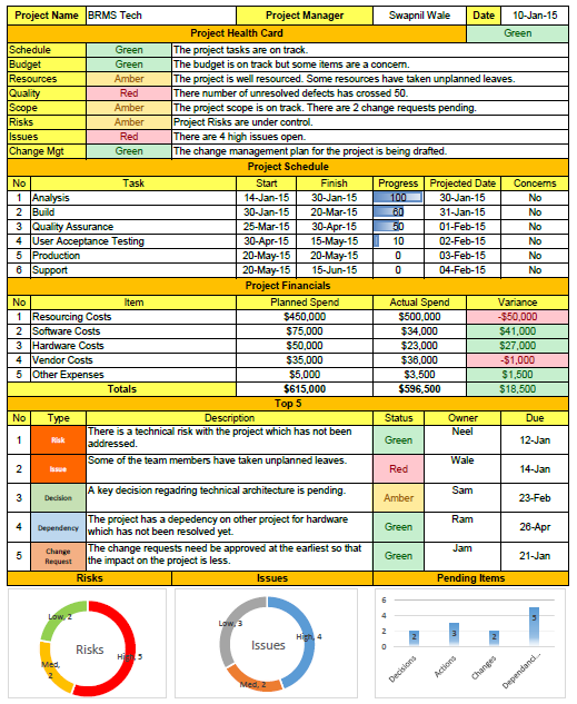 Project Status Report Template Excel | PROject 101 | Pinterest