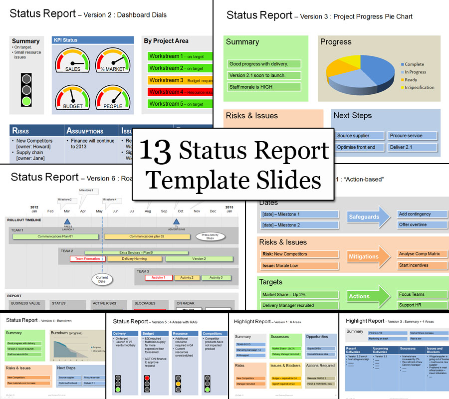 status report template ppt status template be clear successful
