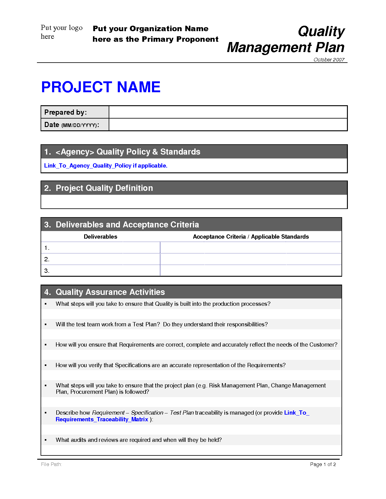 Project Management Schedule Example Quality Management Plan
