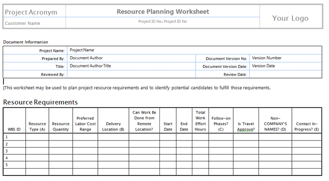 resource plan template project management  u2013 printable