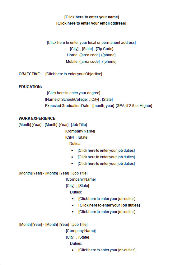College Student Resume Template Word 14 Microsoft Resume Templates