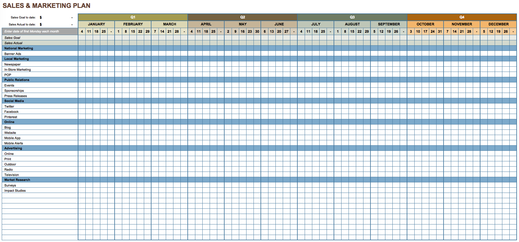 Sales Plan Template Excel Free Download