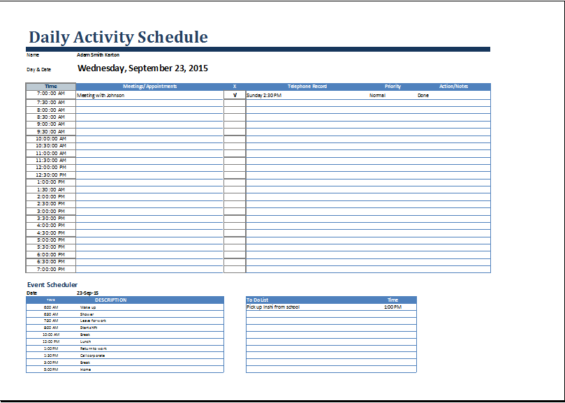 Activity Schedule Templates – 12+ Free Word, Excel, PDF Format