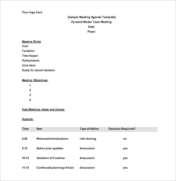 Meeting Schedule Templates 18+ Free Word, Excel, PDF Format