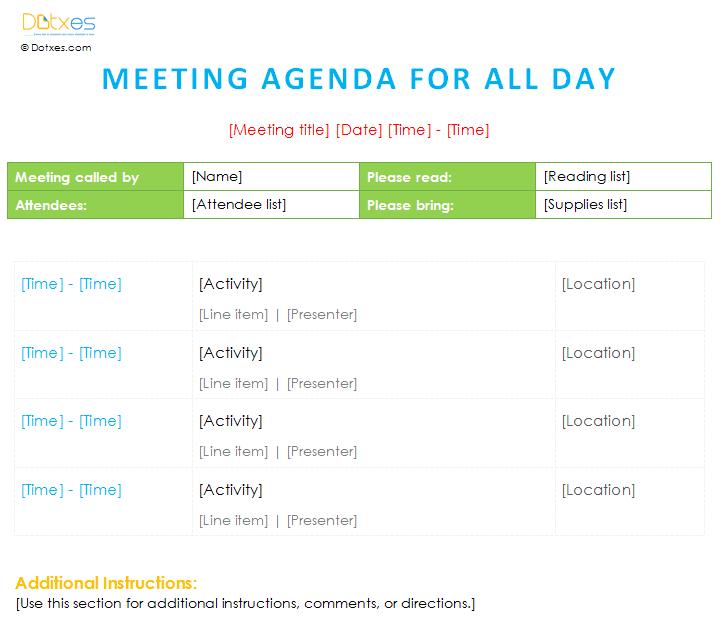 Meeting agenda template (All day) Dotxes