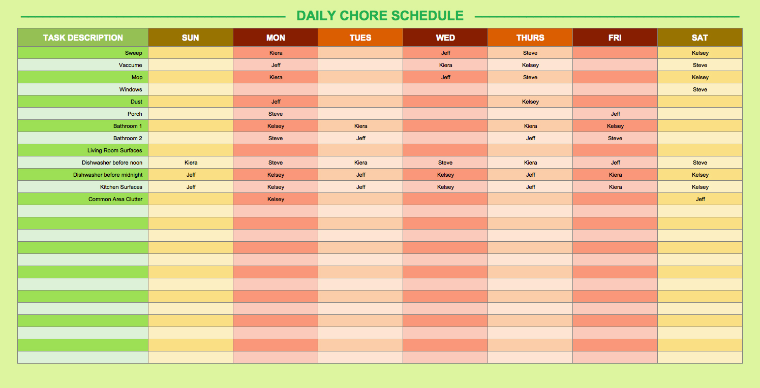 Exercise Chart Templates. Erp Training Schedule With Mock Live