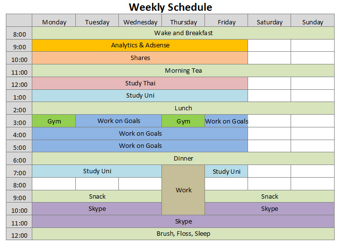 Free Schedules For Excel Daily Weekly