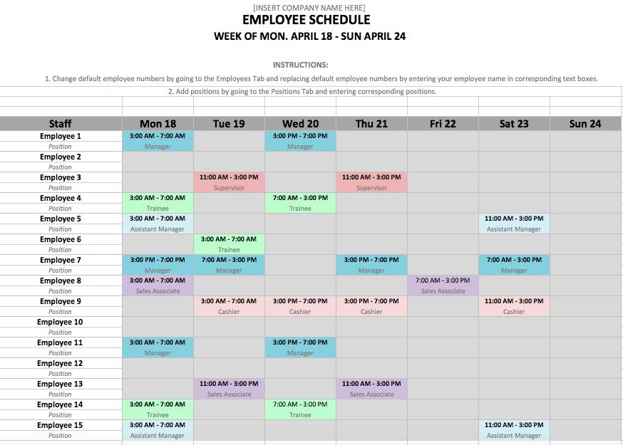 schedule maker template excel