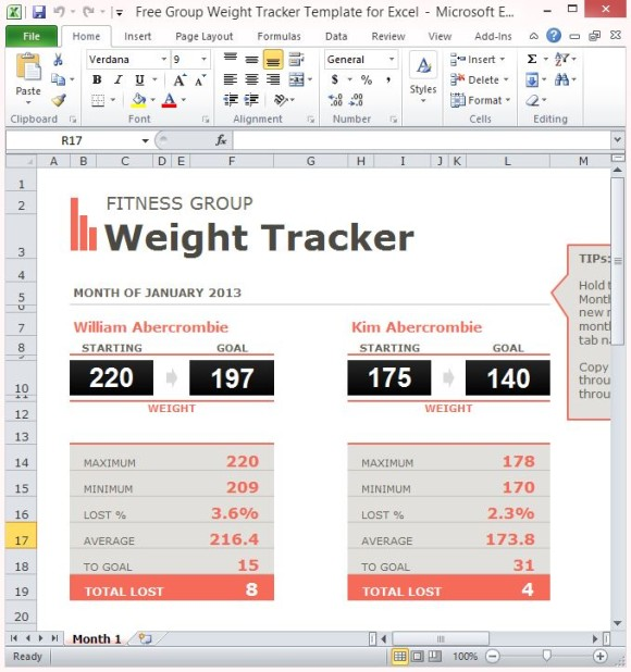 Free Group Weight Tracker Template For Excel