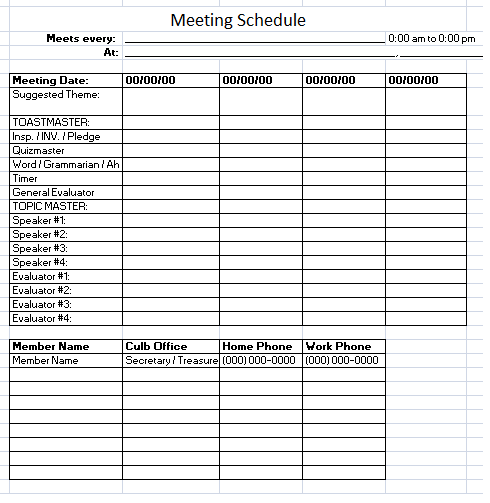 Schedule Of Meetings Template On Excel