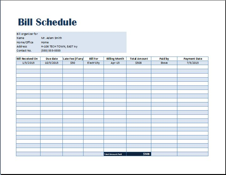 Bill Payment Schedule Template   Word & Excel Templates