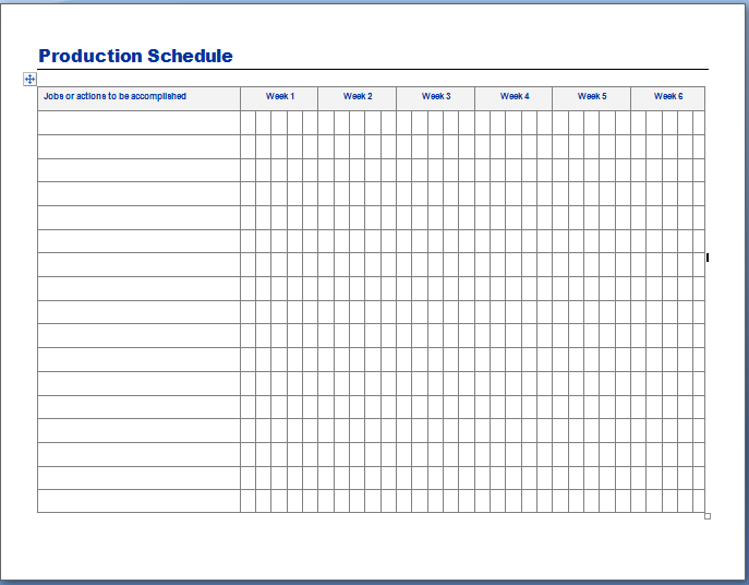 Schedule Planning Template