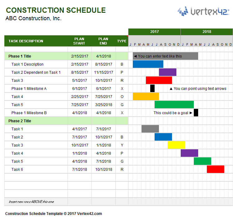Schedule Project Management Template
