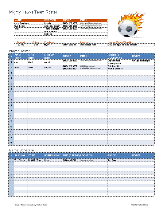 Soccer Roster Template for Excel