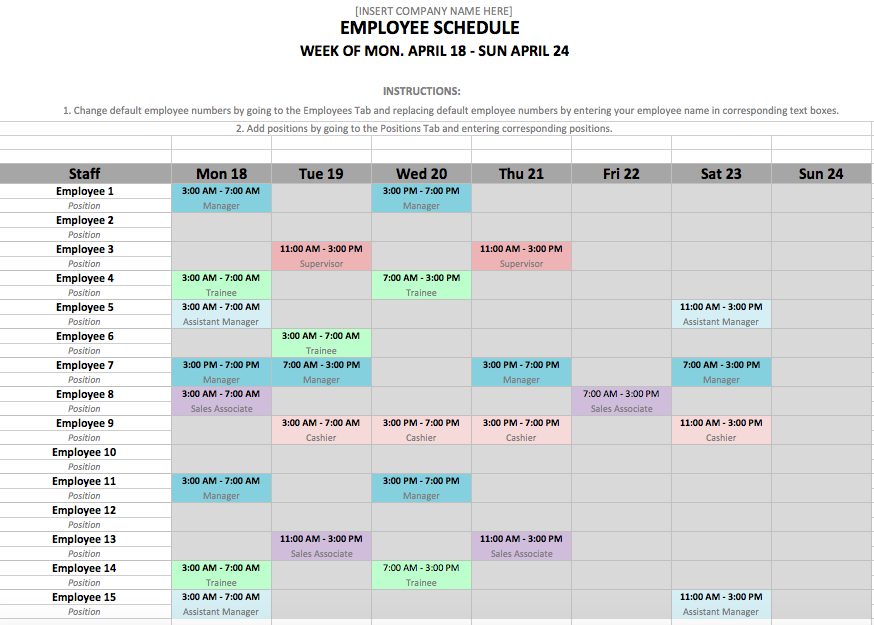 Schedule Shift Template
