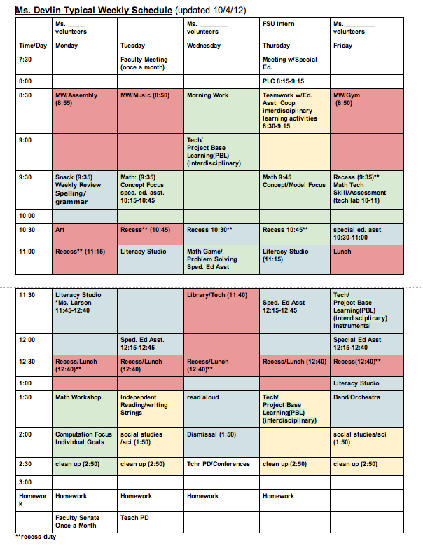 Classroom Schedule Template for Teachers | Weekly Pattern: A
