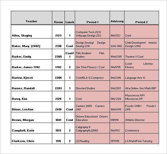 Teacher Schedule Templates – 12+ Free Word, Excel, PDF Format