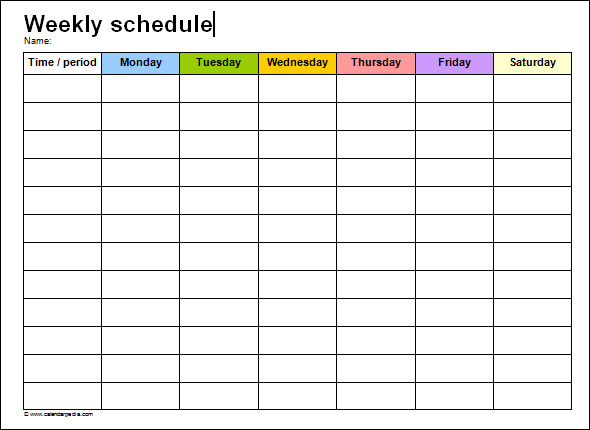 printable weekly schedule template | Middle school science