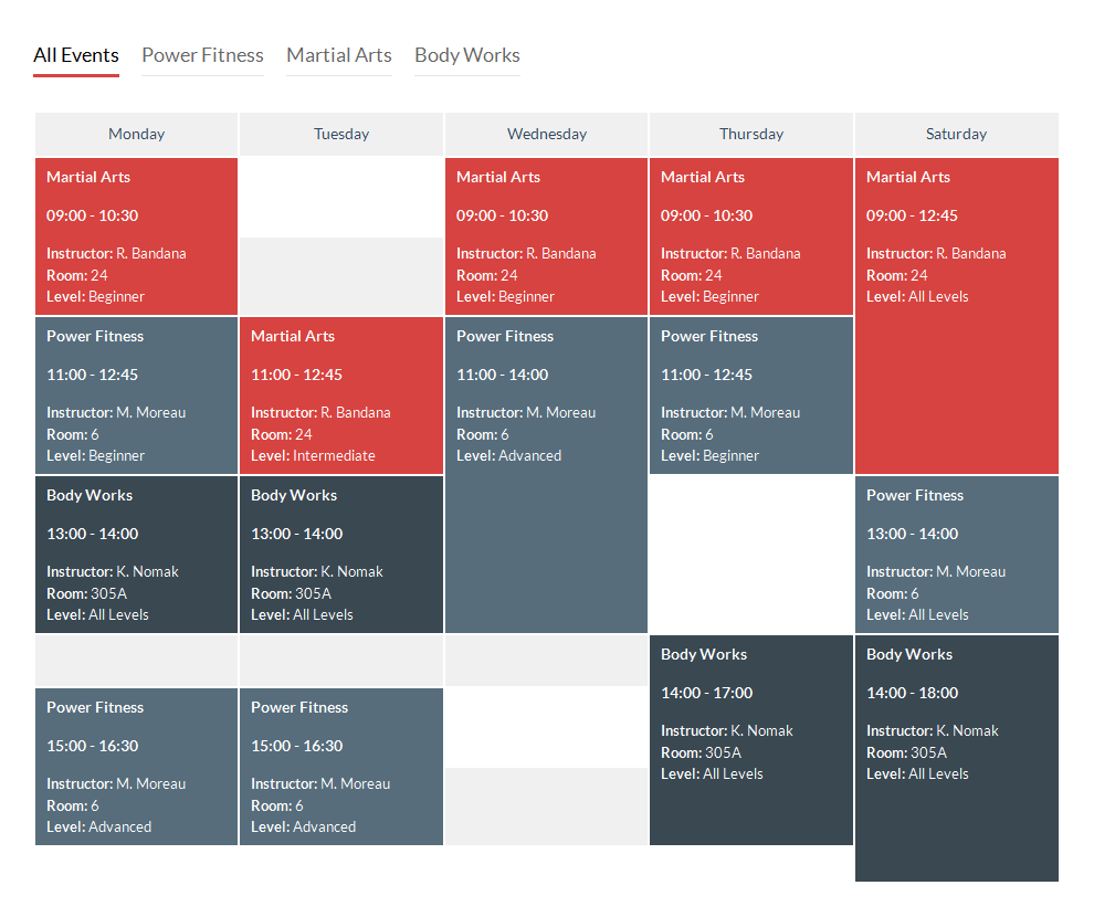 Schedule Template in CSS and jQuery | CodyHouse