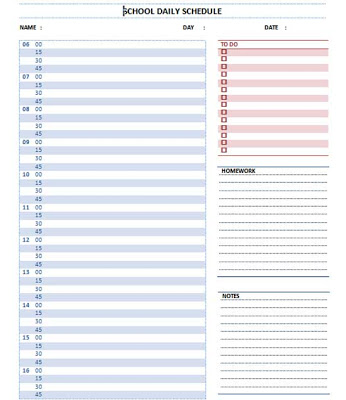 Schedule Template Microsoft Word