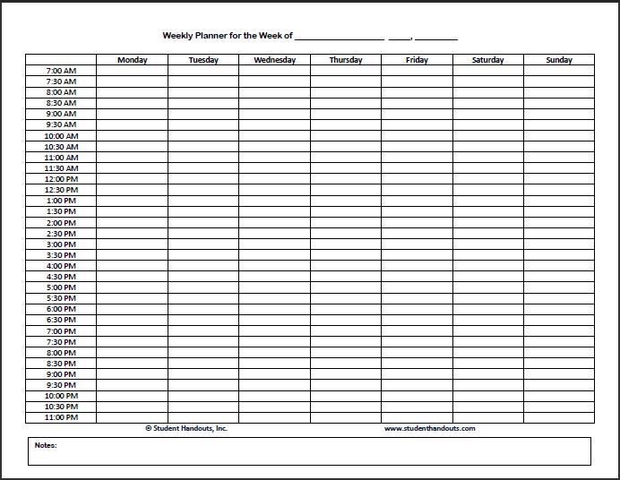 Blank Schedule Template (Monday start) | Biddeford Student