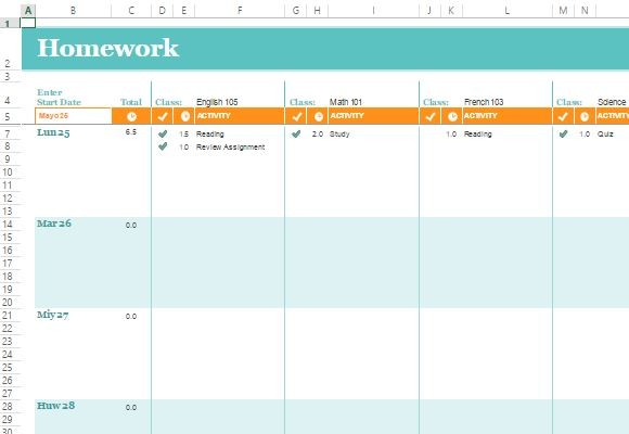 Free Homework Schedule Template For Excel Online