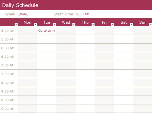 Schedule Template Online