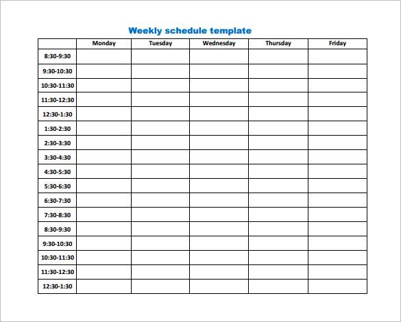 Weekly Work Schedule Template 14+ Free Word, Excel, PDF, Format