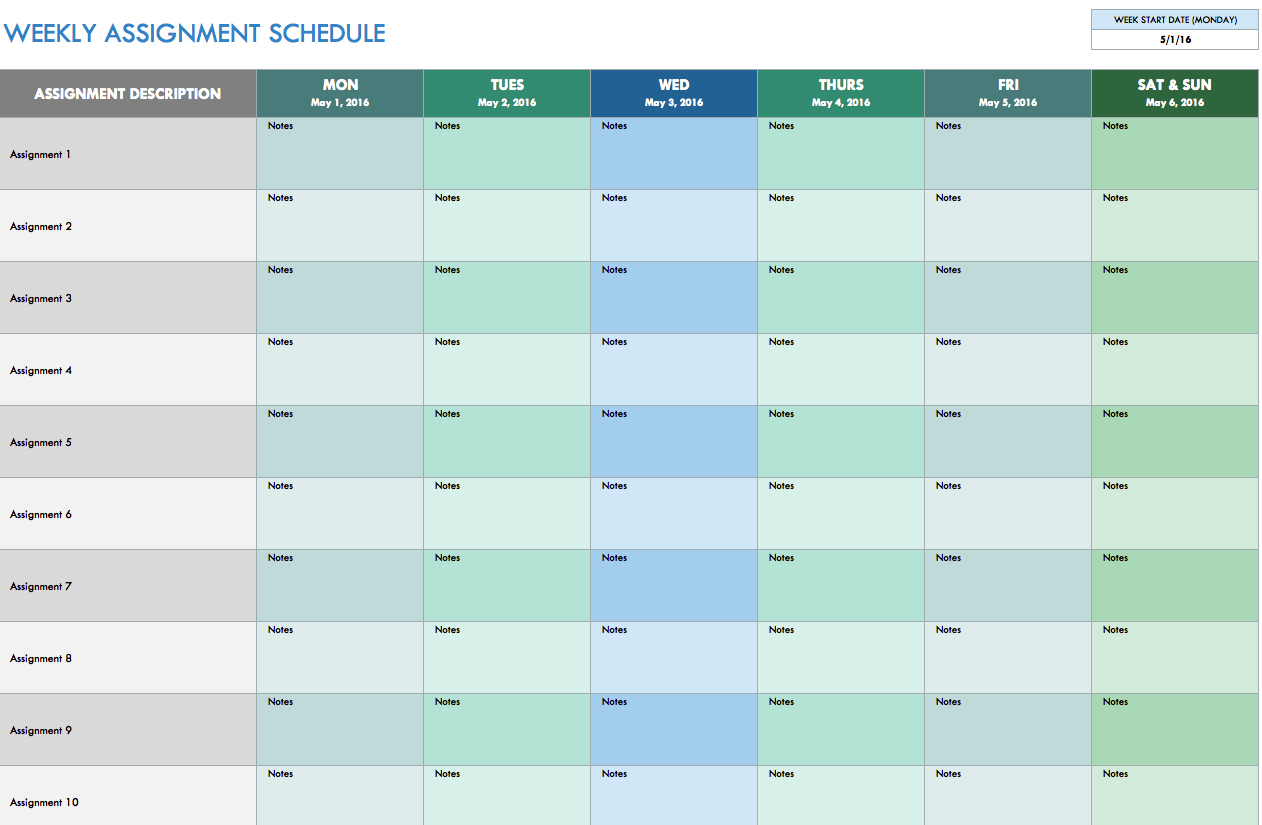 Schedule Template Weekly Excel